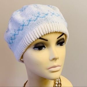 Vintage Accessories - vintage 1970/80s knit beret blue and white